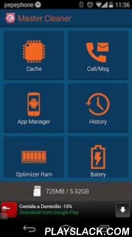 Master Cleaner Free  Android App - playslack.com , CLEAN MASTER.Your phone is slow? Your memory is full? Your data is not secure? Want to clean your android phone? If you answer is yes, then you MUST DOWNLOAD 'Master Cleaner'.'Master Cleaner' helps your android phone. It makes it faster and more secure.Increase Memory/ Task Killer - Make Applications and Games faster with 'Master Cleaner'.Clean or remove unnecessary files (cache and wastes) which can occupy valuable space.Clear - Protect…