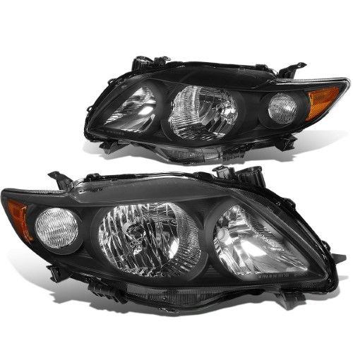 For 2009 To 2010 Toyota Corolla 10th Gen Pair Black Housing Amber Corner Headlight Headlamps Left Right Toyota Corolla Toyota Pairs