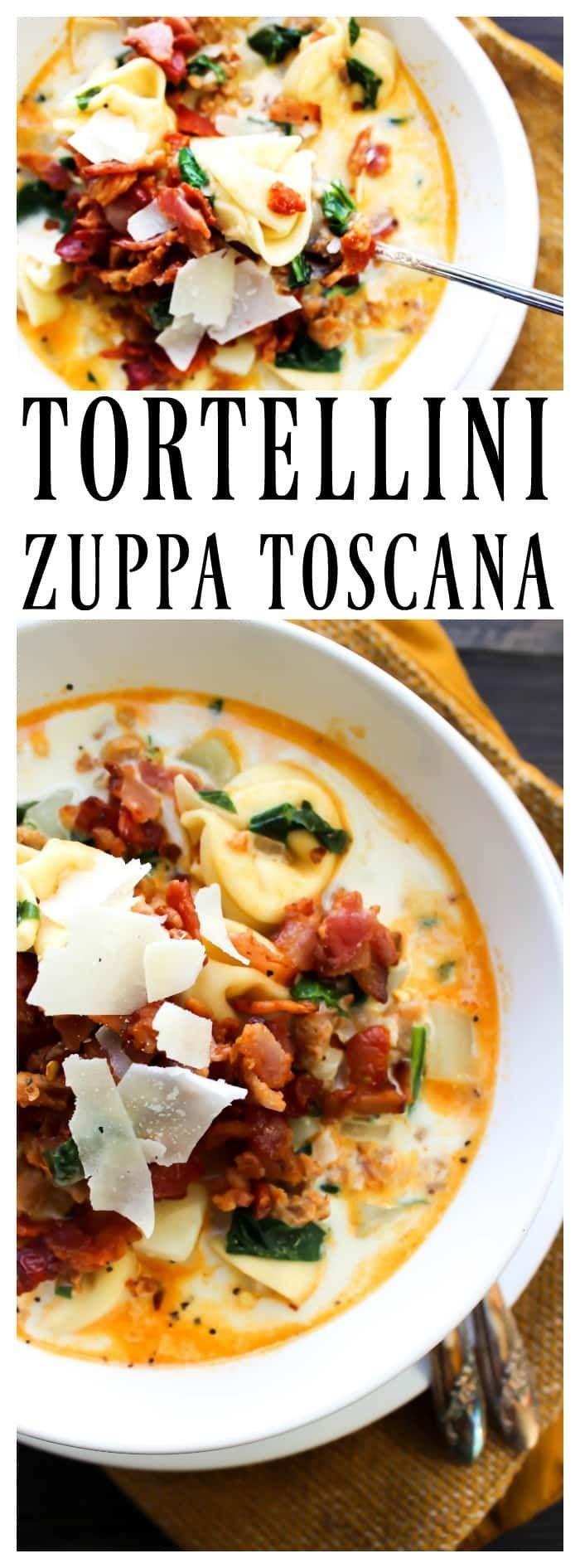 4 slices cooked bacon diced 1 lb. spicy Italian sausage 1 tablespoon olive oil 2 garlic cloves minced 1 small yellow onion diced 4 cups chicken broth 2 medium russet potatoes peeled and diced 2 cups baby spinach 2 cups heavy cream 9 ounce package three-cheese tortellini