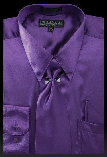 799a460c5 Men's Purple Satin Dress Shirt with Tie & Handkerchief in 2019 ...