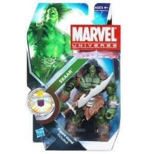 Marvel Universe 3 3/4 Inch Series 14 Action Figure Skaar by Hasbro. $13.99. Marvel Universe 3.75â? figures are comparable to their larger Marvel Legends counterparts in terms of aesthetics and articulation. The barbarically-clad Skaar is decorated with tribal markings, and is equipped with a pair of roughhewn swords. Introduced during the World War Hulk storyline, Skaar is the offspring of the Hulk and Caiera the Oldstrong; Skaar survived his motherâ?TMs death in the form of ...