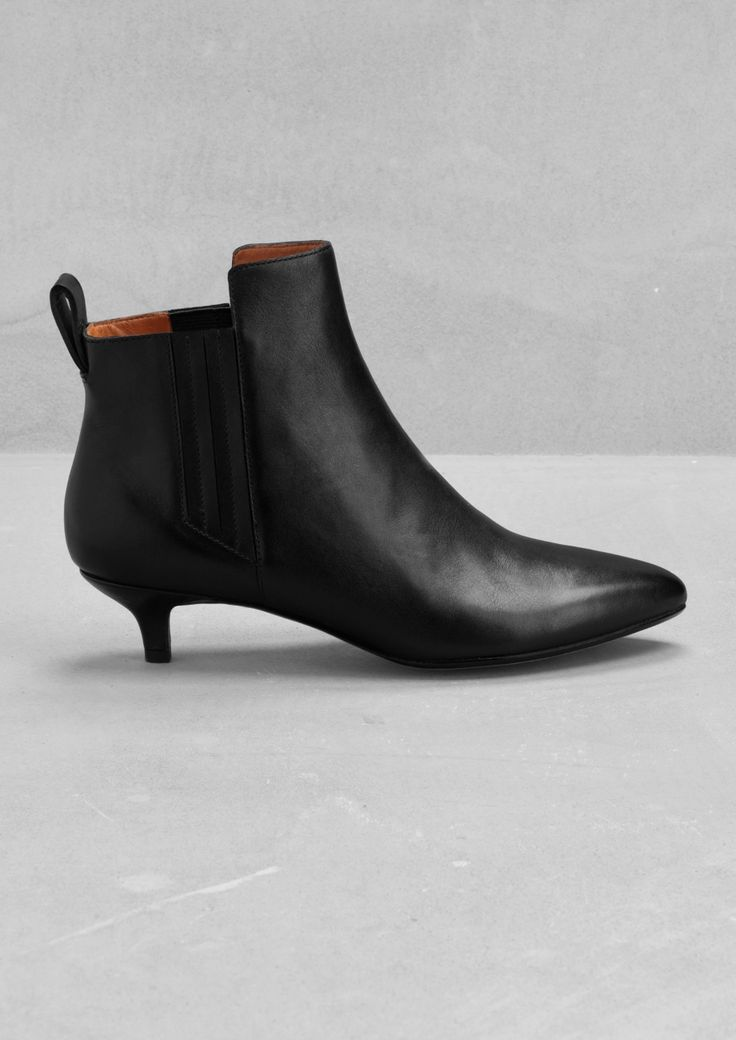 & Other Stories Leather kitten heel ankle boots cute