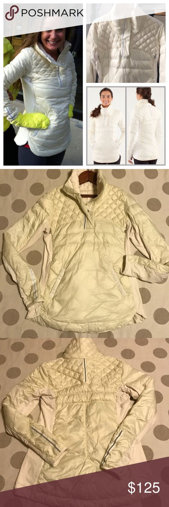 "Lululemon ""what the fluff"" down pullover jacket You're looking at a gently loved Lululemon What the Fluff Pullover. Size 10.  Polar cream. 800-fill-power premium goose down. Has Underarm mesh panelling, zipper vents, reflective details, thumb holes and Front zipper pocket. Rulu fabric panelling provides stretch .Due to the light color, you may seem some of the down. Not considered a flaw. Only flaw is very faint discoloration on inner collar. Color is like stock photo. Lighting in my room…"