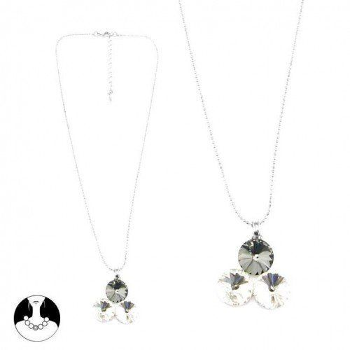 SG Paris Necklace 42Cm+Ext Rho Black Diamond Crystal Transparent/Crystal Necklace Necklace Glass Winter Women Night Bird Fashion Jewelry / Hair Accessories Circle SG Paris. $7.60