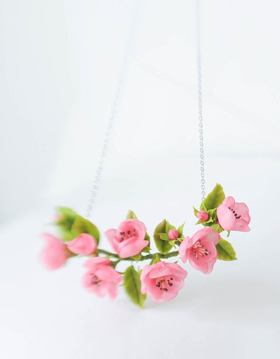 Cherry blossom necklace- Wedding necklace - Blossom accessorize - Flower wedding accessorize- Rustic Wedding- Red necklace