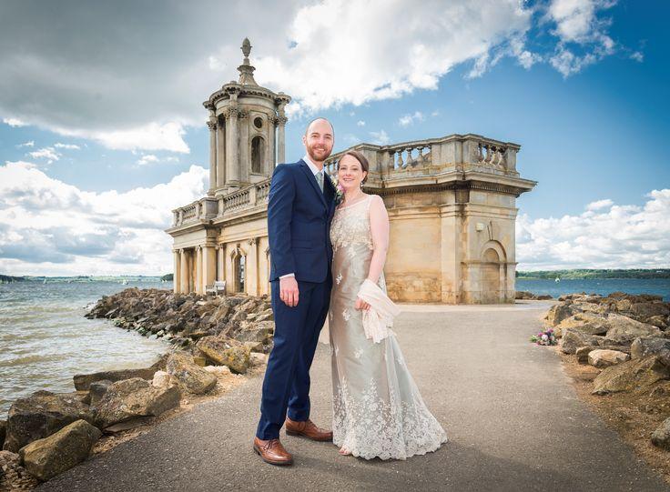 Real wedding: Bespoke sage green silk and vintage lace wedding dress by Rachel Lamb Design. #bespokeweddingdress #greenweddingdress