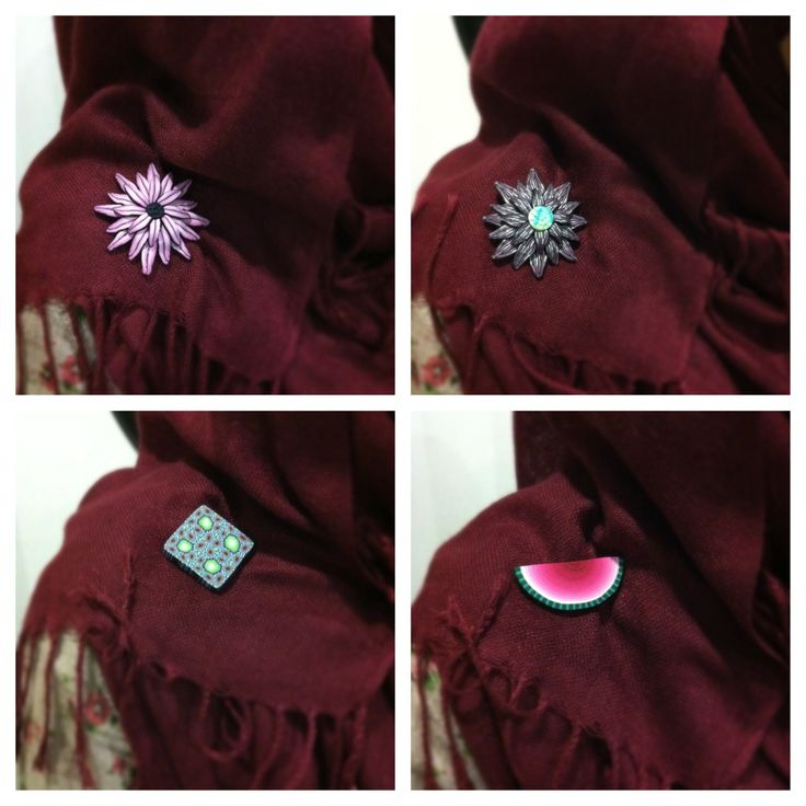 Handmade polymerclay brooches for Hijabs