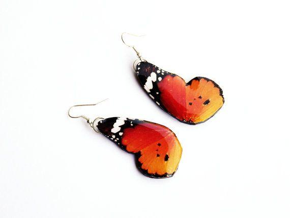 Boucles+doreilles+papillon+monarque+africain+aile+papillon