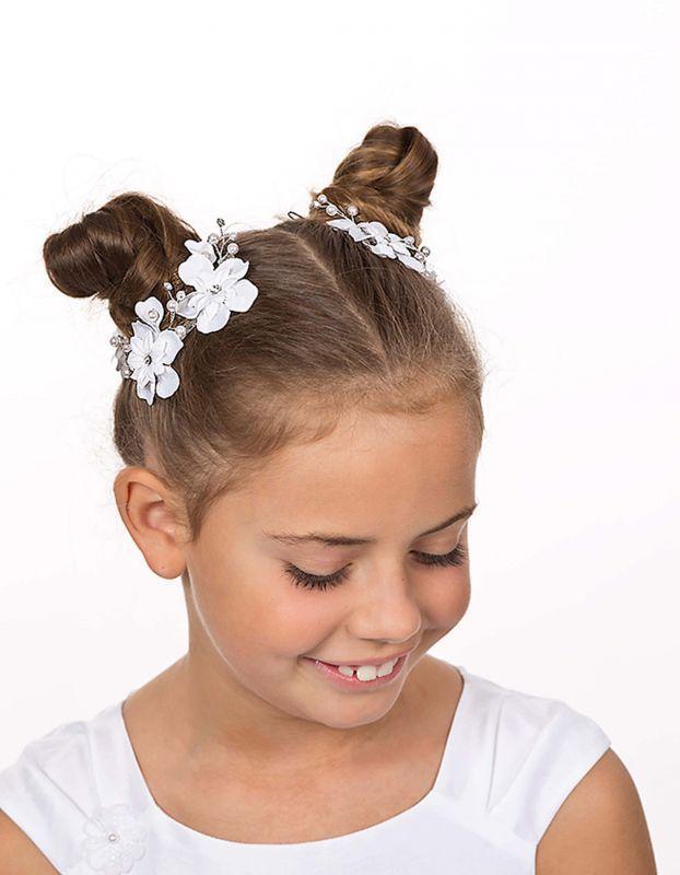 2x Blütenklammer Haarschmuck Kommunion weiss oder ivory
