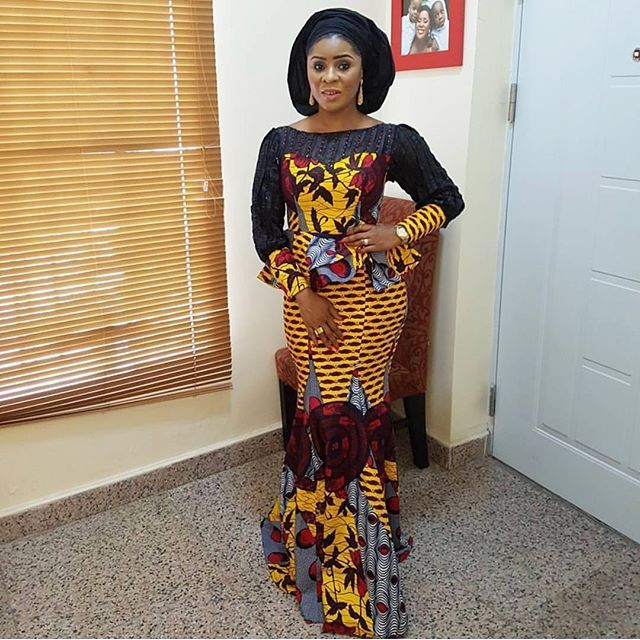 Ankara Combined with Lace : Lovely Six Pieces Skirt and Long Sleeve Peplum Blouse Styles...Ankara Combined with Lace : Lovely Six Pieces Skirt and Long Sleeve Peplum Blouse Styles