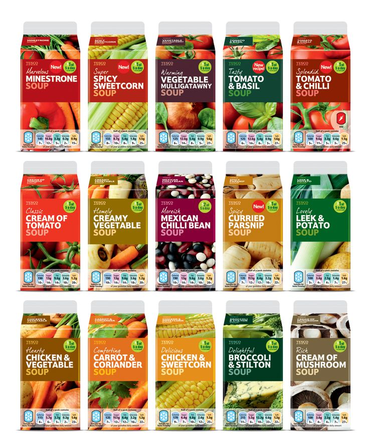 Tesco Soups  Tesco's range of hearty and wholesome soups is big on taste – a quality we were keen to reflect on the packaging. Working with photographer James Murphy, we art directed a series of flavourful shots, applying them full-bleed on pack with bold blocks of colour for a seriously tasty impact.