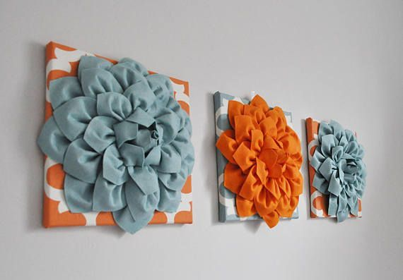 Transform your wall with this stunning Teal BLUE and ORANGE Wall Art Canvas Set- Canvas, this set will make a great statement wall art piece for any bathroom, kitchen, living space, entry way, bedroom or nursery. Go retro bold in Orange Blue Bathroom Artwork - Bedroom Pictures - Flower