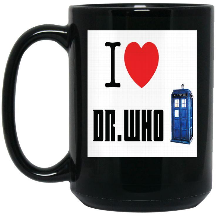 A I HEART LOVE DOCTOR WHO TARDIS TIME LORD DAVID TENNANT BILLIE PIPER BBC SCI FI MENS PREMIUM BM15OZ 15 oz. Black Mug