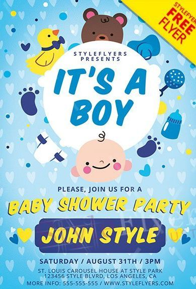 Baby Boy Shower Free Psd Flyer Template Free Psd Flyer Free Psd