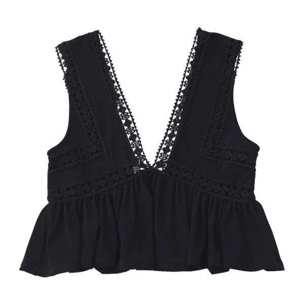 Ruffles Lace Trim Cropped Tank Top Black (25 CAD) ❤ liked on Polyvore featuring tops, zaful, crop top, frilly tops, ruffle crop top, cut-out crop tops and flounce crop top
