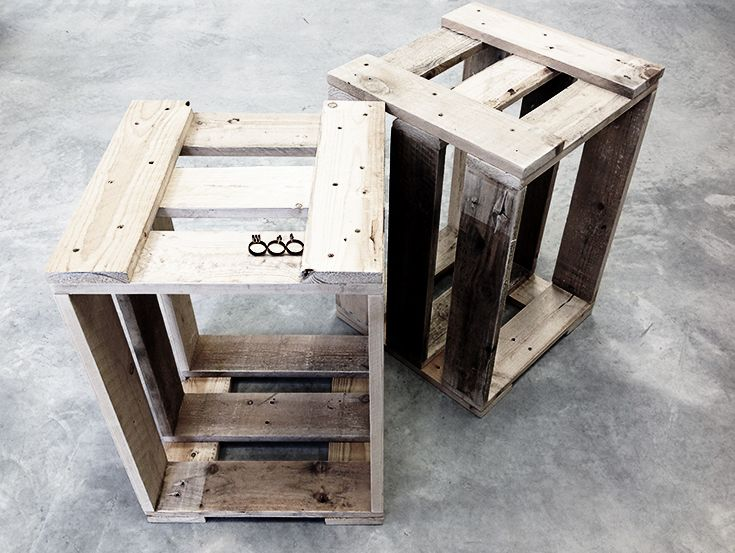 Recycled wood display crates.  WTF!!  Outlet by Jones