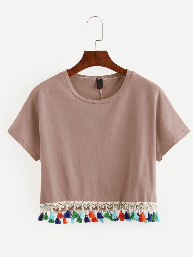T-shirt+court+avec+franges+-+rose++12.97