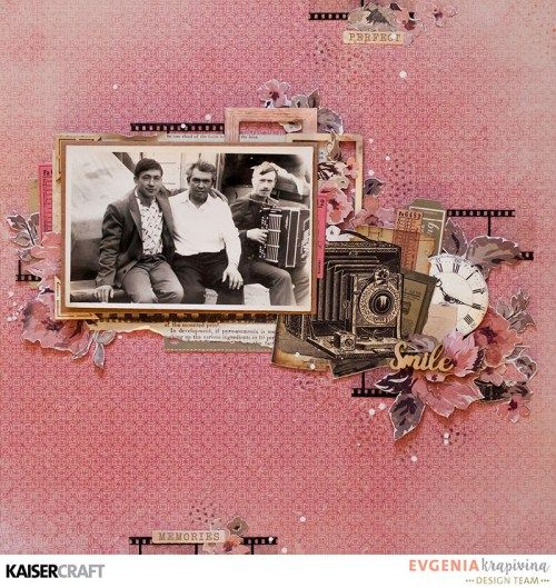 'Smile' Retro Layout by Evgenia Krapivina Design Team member for Kaisercraft Official Blog featuring June 2017 'Keepsake' collection. Learn more at kaisercraft.com.au/blog ~ Wendy Schultz ~ Scrapbook Layouts.