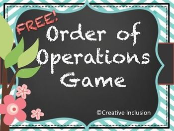 This is a fun way for students to practice their Order of Operations skills! I have students who have been reluctant to participate in math really enjoy this game. I hope your students enjoy it as well.