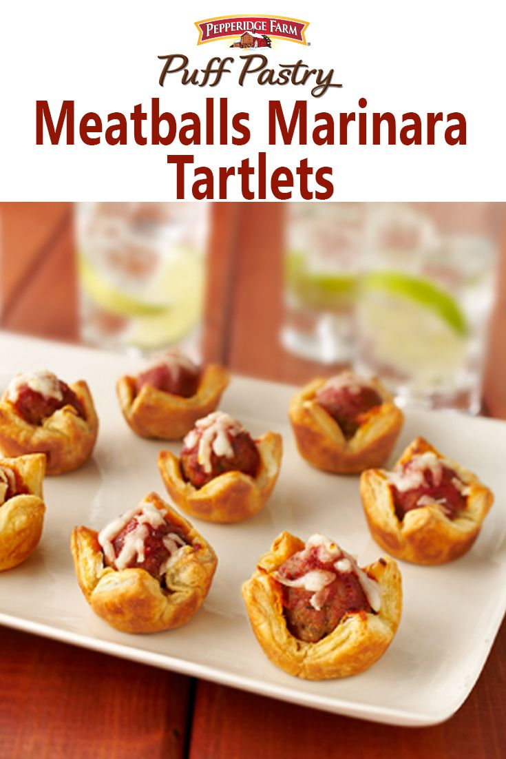 Puff Pastry Meatballs Marinara Tartlets Recipe. Meatball Parmesan goes upscale when it's served in individual Puff Pastry tarts. They're easy to make and really delicious. Use prepared meatballs and frozen Puff Pastry to make these an easy weeknight treat or after school snack.