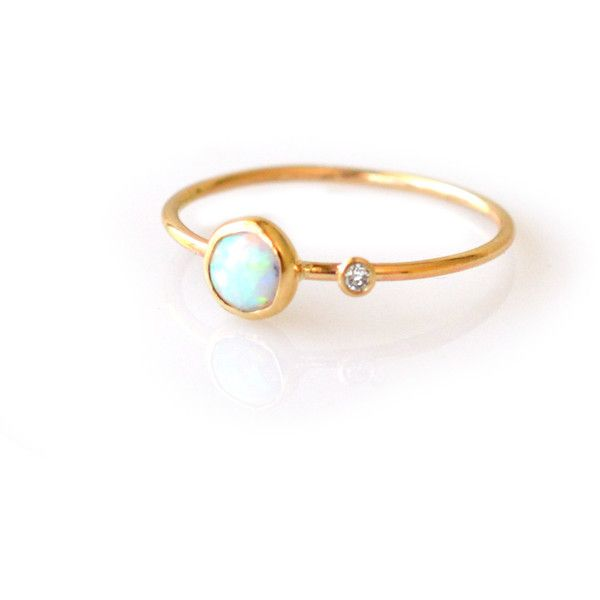 14kt Gold Opal Diamond Side by Side Ring ($269) ❤ liked on Polyvore featuring jewelry, rings, layer, stack, opal diamond ring, gold stackable rings, gold rings, yellow gold rings and diamond jewelry