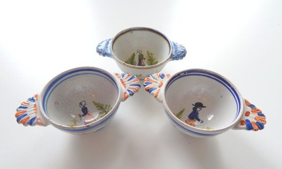 Antique French Quimper Bowls Group of 3 by Vintagefrenchlinens