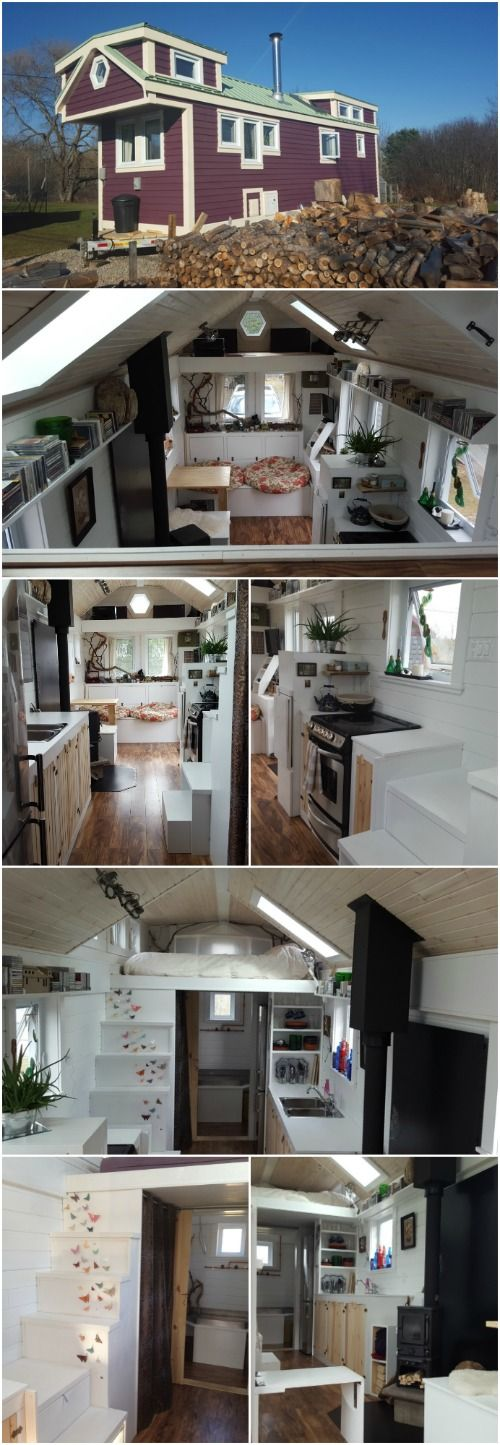 "This Adorable 28 Foot Tiny House is Built for Cozy Living - Full Moon Tiny Shelters have finished another impressive tiny house that they call the ""T-Berry House"". This home is built on a 28-foot trailer and is completely insulated so you can live comfortably year-round in any season. It's designed for on-grid living and even has a heat pump!"