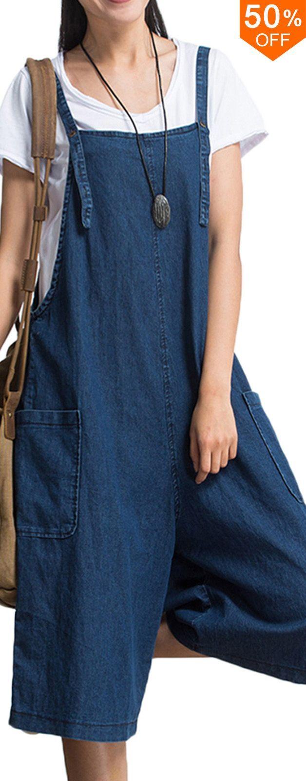 S-5XL Plus Size Women Loose Denim Blue Strap Pocket Jumpsuit Trousers. #women #leggings #jeans