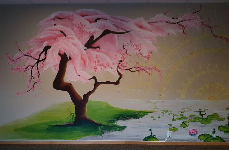 #mural#cherry#tree#waterlillies#yoga#frogs#theresewalland#mandala#lothus