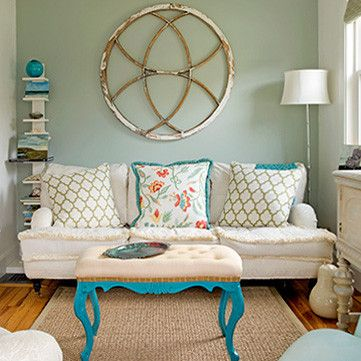 Quiet Home Paints | Coastal Living Room Colletction  like the pop of color with the neutral paint and couch