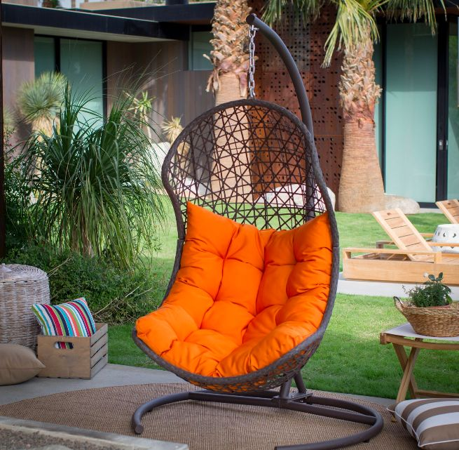 Living Cocos Resin Wicker Hanging Egg Chair with Cushion