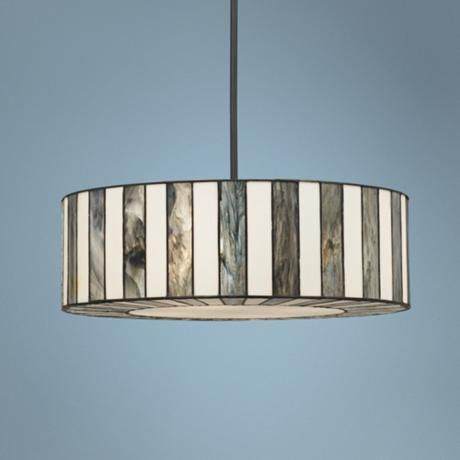 "Dining room? There's a ceiling light too... Tiffany Style 23"" Wide Striped Art Glass Pendant Light"