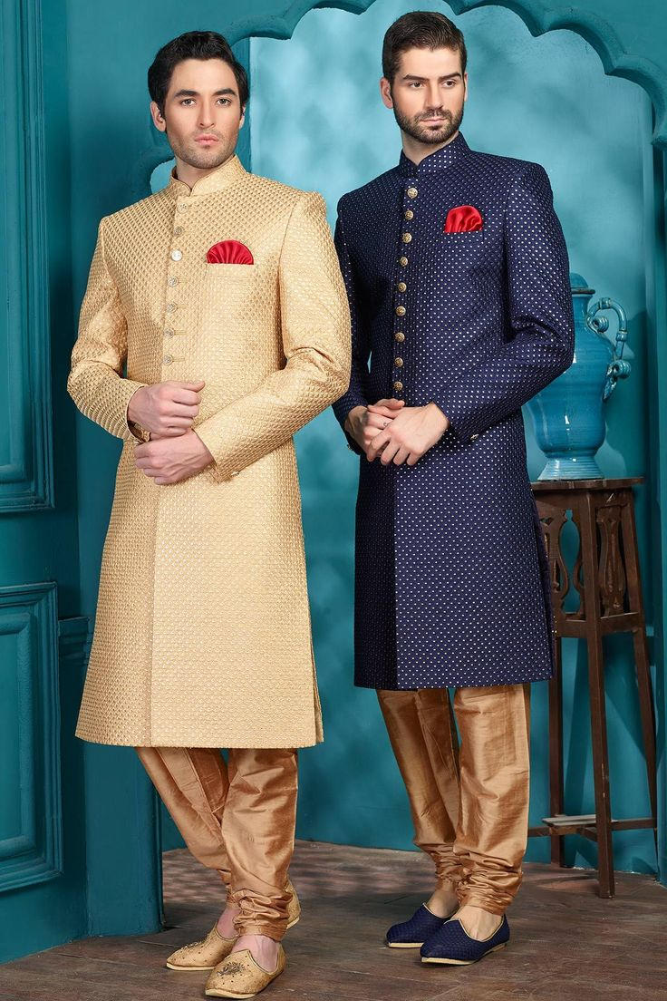 Gold Raw Silk Sequins Embroidered Indo Western Sherwani-IW1009