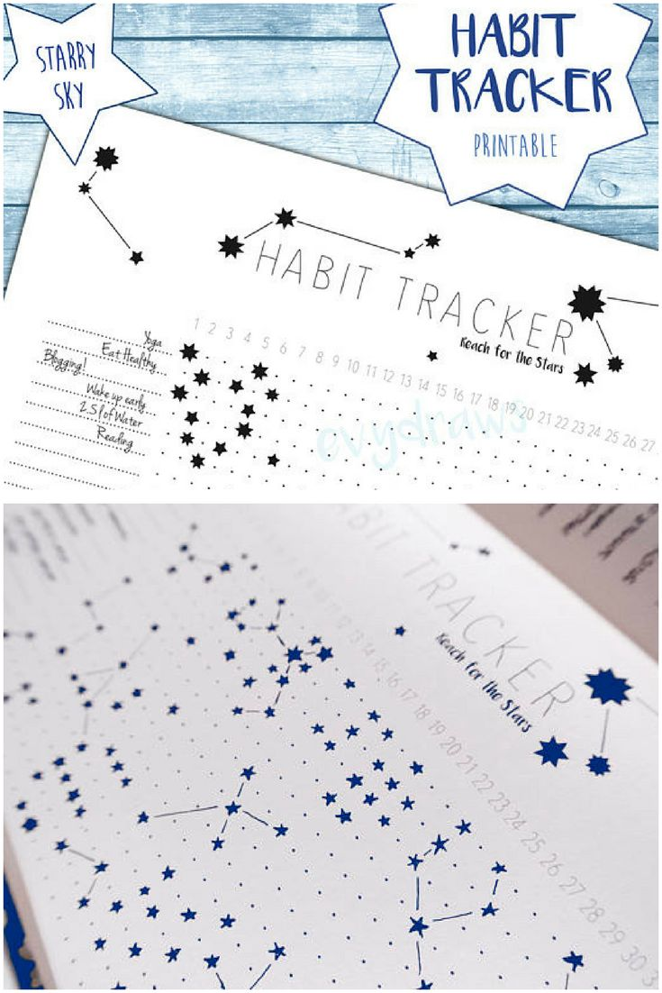 """Love this idea for bujo habit tracker! So pretty. This unique habit tracker printable lets you doodle stars for each daily habit you're tracking - leaving you with a starry sky pattern in your bullet journal or planner at the end of the month! And you can just print it out and stick it in to save time. Habit Tracker """"Starry Sky"""" Bujo Printable 