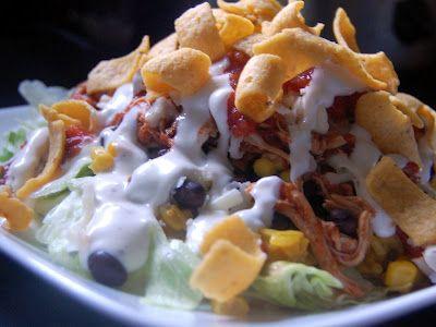 Salsa Ranch Taco Salads: Ranch Tacos, Tacos Recipes, Crock Pots, Cassie Cravings, Chicken Taco Salads, Ranch Chicken, Salsa Chicken, Salsa Ranch, Chicken Tacos Salad