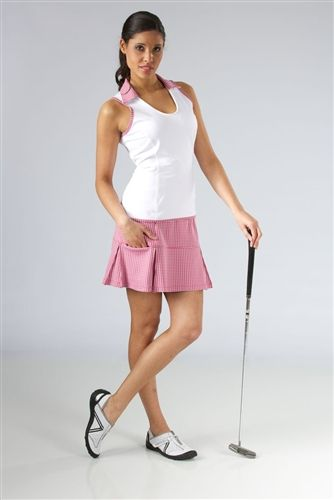 Smashing #Golf & #Tennis Billie White Sleeveless Top Pink Houndstooth | #Golf4Her