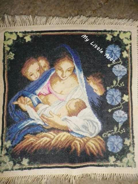 Maryja z dzieciątkiem haft krzyżykowy