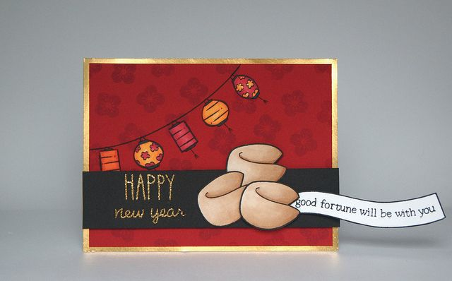 Lawn Fawn Good Fortune, Lunar Lights, So Much to Say, Happy Everything _ interactive card (fortune slides out of cookie) by Yainea