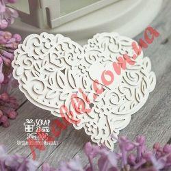 3d Чипборд Scrapbox 3d Чипборд Scrapbox Кружевное сердце с цветами и листиками Dm-001, 74*60мм