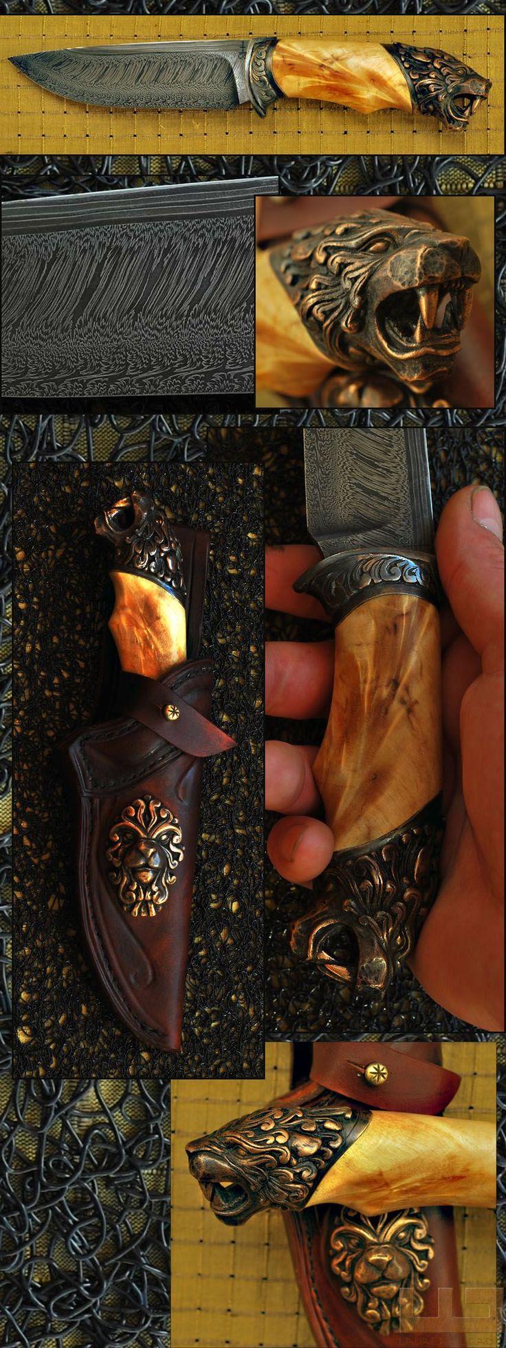 Gerdil Лоран - Скульптура - Человек Стэнли нож. Клинок Дамаск Клод Schosseler, длина 13 см. Ручка Вилка Тополь стабилизировалась. Охрана и навершие дело литой бронзы с использованием утраченной дизайн воск. Общая длина 26 см.