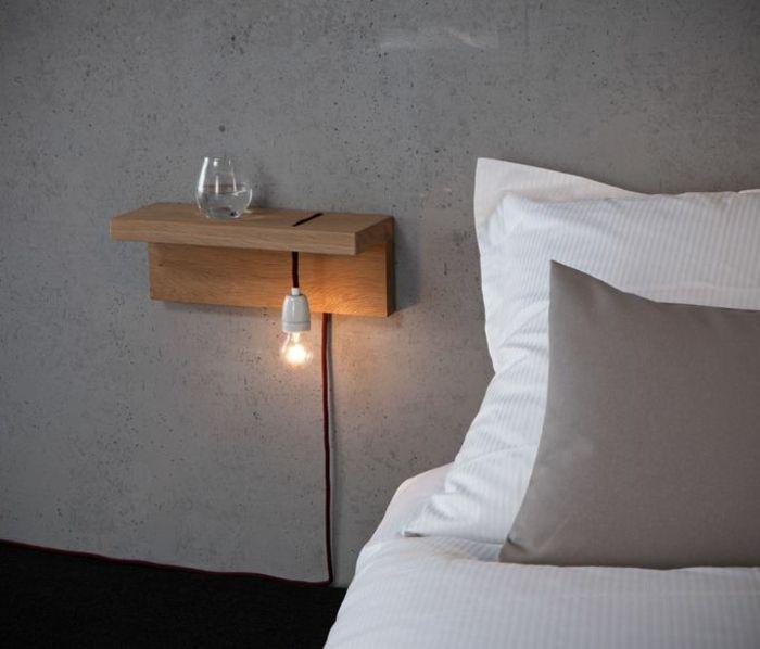 table de nuit suspendue, étagère flottante avec ampoule éléctrique