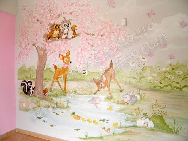 παιδική τοιχογραφία, ζωγραφική σε τοίχο παιδικού δωματίου