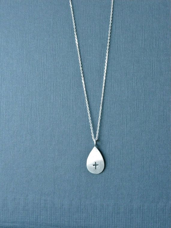 Cross Necklace Drop Silver Necklace, precious blood cross necklace by Kristian Jessie Silver
