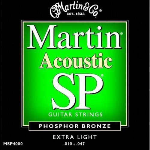 Martin MSP4000 SP Phosphor Bronze Acoustic Guitar Strings, Extra Light by Martin. $5.49. Martin MSP4000 SP Phosphor Bronze Extra Light Acoustic Guitar Strings are made with a unique composition to give brilliance, clarity, and longevity of sound. The phosphor bronze winding alloy is ideally suited for making strings that have deep, rich basses and clear, bright trebles.. Save 67% Off!