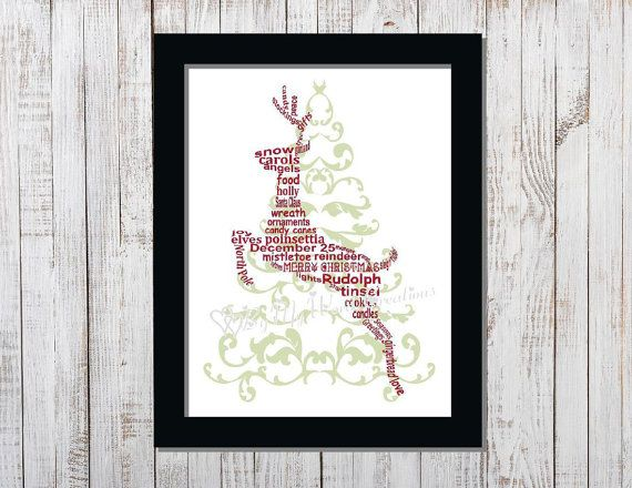 Christmas Decoration Word Art Christmas by ByMyWordCreations
