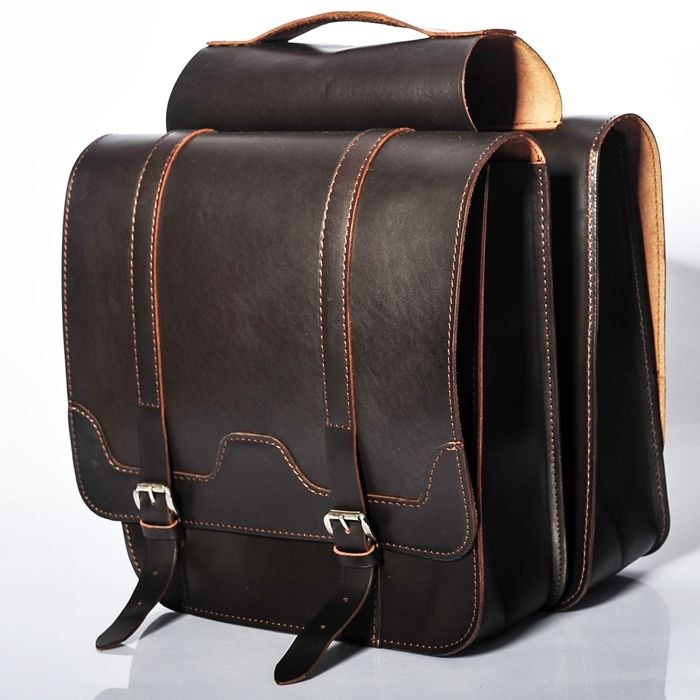 Bicycle leather panniers