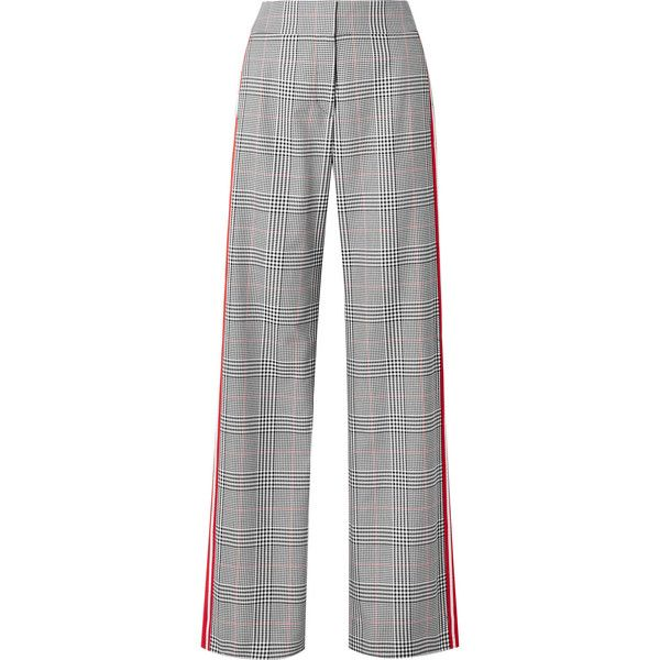 Monse Striped Prince of Wales checked woven wide-leg pants (€695) ❤ liked on Polyvore featuring pants, black, side stripe pants, high-waisted pants, high-waisted trousers, wide-leg trousers and striped wide leg trousers