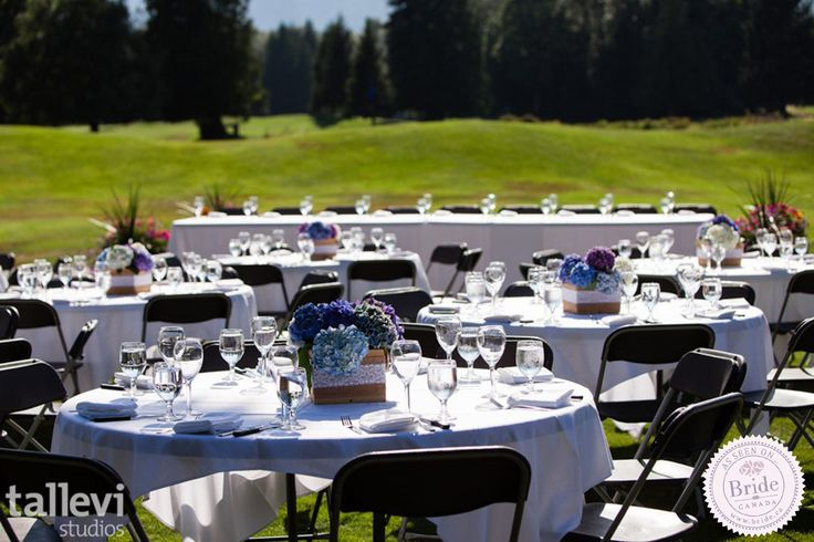 Outdoor wedding reception at Squamish Valley Golf Club just north of Vancouver, BC. Photo by Tallevi Studios, as seen on BRIDE.Canada.