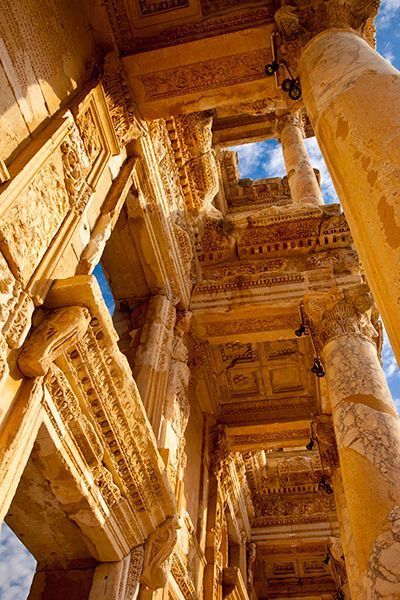 Some of the ornate carving of the Library of Celsus, Ephesus, Turkey by Brian Janssen