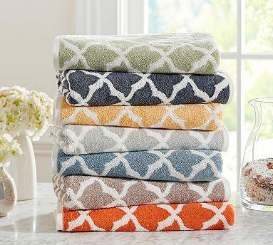 Marlo Jacquard Organic 600-gram Weight Bath Towels #potterybarn in Sage Green (top color)